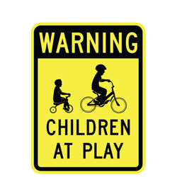 Warning (Symbol) Children at Play Sign