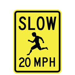 Slow (Child Symbol) 20 MPH Sign