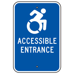 Active Handicap (Symbol) Accessible Entrance Sign