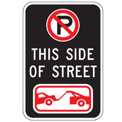 Oxford Series: (No Parking Symbol)  This Side Of The Street  | (Tow Symbol) Sign