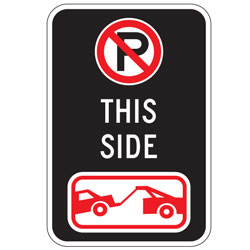 Oxford Series: (No Parking  Symbol) This Side | (Tow Symbol) Sign