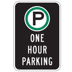 Oxford Series: (Parking Symbol) One Hour Parking Sign
