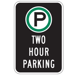 Oxford Series: (Parking Symbol) Two Hour Parking Sign