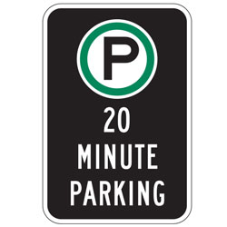 Oxford Series: (Parking Symbol) 20 Minute Parking Sign