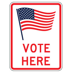 Vote Here (Flag Symbol) Sign