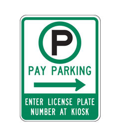 Pay Parking Enter License Plate Number at Kiosk with Right Arrow Sign