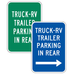 Truck RV Parking In Rear (with Arrows) Sign