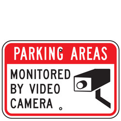 Parking Areas Monitored By Video Camera Sign