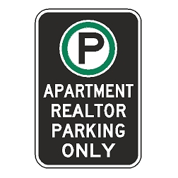 Oxford Series: (Parking Symbol) Apartment Realtor Parking Only Sign