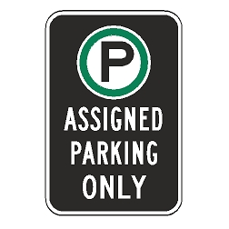 Oxford Series: (Parking Symbol) Assigned Parking Only Sign