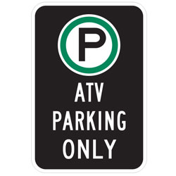Oxford Series: (Parking Symbol)  ATV Parking Only Sign