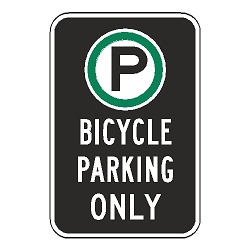 Oxford Series: (Parking Symbol) Bicycle Parking Only Sign