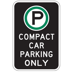 Oxford Series: (Parking Symbol) Compact Car Parking Only Sign