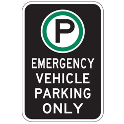 Oxford Series: (Parking Symbol)  Emergency Vehicle Parking Only Sign