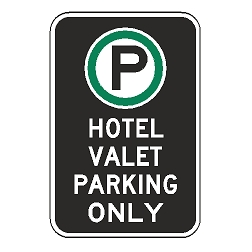 Oxford Series: (Parking Symbol) Hotel Valet Parking Only Sign