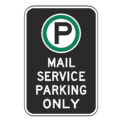 Oxford Series: (Parking Symbol) Mail Service Parking Only Sign