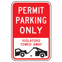 Permit Parking Only Violators Towed Away Sign