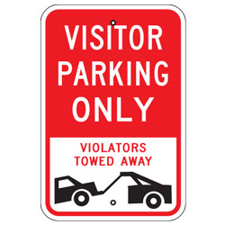 Visitor Parking Only Violators Towed Away Sign