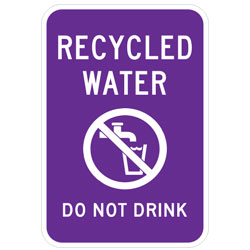 Recycled Water (Symbol) Do Not Drink Sign