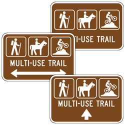 Hiker, Horse, and Mountain Bike Symbols | Multi Use Trail (with Arrow) Sign