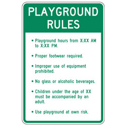 Playground Rules (Custom Hours and Age) Sign
