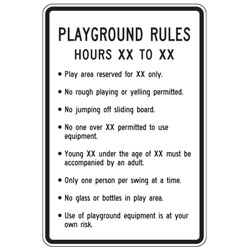 Playground Rules (Custom Hours, Reserved and Age) Sign