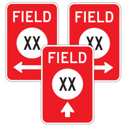Field XX Number With Arrow Sign