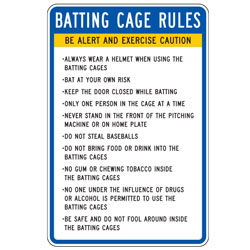 Batting Cage Rules Long List Sign