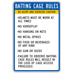 Batting Cage Rules Short List Sign