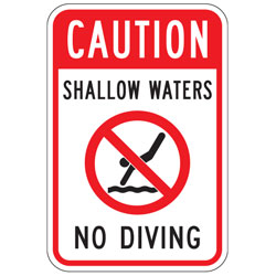Caution | Shallow Waters | (No Diving Symbol) | No Diving Sign