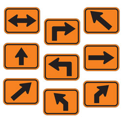Universal Arrow Route Plaques (Black on Orange)