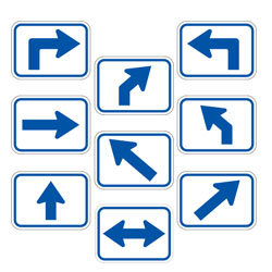 Universal Arrow Route Plaques (Blue on White)