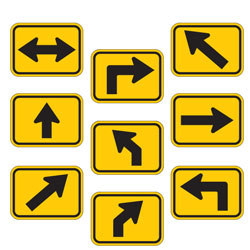 Universal Arrow Route Plaques (Black on Yellow)
