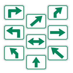 Universal Arrow Route Plaques (Green on White)