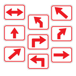 Universal Arrow Route Plaques (Red on White)