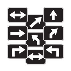 Oxford Series: Universal Arrow Route Plaques (White on Black)