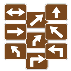 Universal Arrow Route Plaques (White on Brown)
