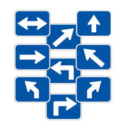 Universal Arrow Route Plaques (White on Blue)