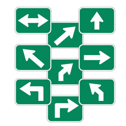 Universal Arrow Route Plaques (White on Green)