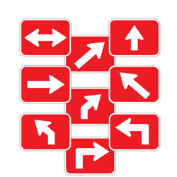 Universal Arrow Route Plaques (White on Red)