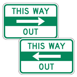 This Way Out with Left/Right Arrow Signs