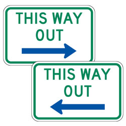 This Way Out with Left/Right Blue Arrow Signs
