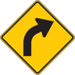 Curve Right Arrow Symbol Warning Signs