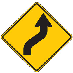 Reverse Curve Right Arrow Symbol Warning Signs