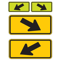 Diagonal (Left/Right) Down Arrow Warning Plaques