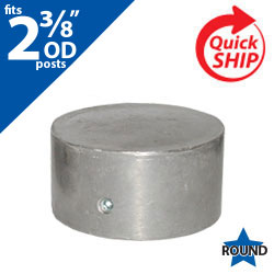 "Silver 2 3/8"" OD Round Post Closure Cap for 2 3/8"" OD Round Post"