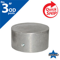 Silver 3 OD Round Post Closure Cap for 3 OD Round Post