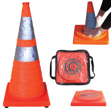 Collapsible Traffic Cones (Set of 5 ) with Storage Bag Kit