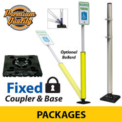 Sta Rite Flexible Sign Posts with Coupler and Fixed Black Base