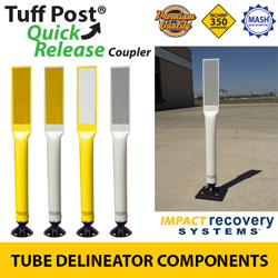 Premium Tuff Post Tube Delineators with Coupler for Quick Release Base